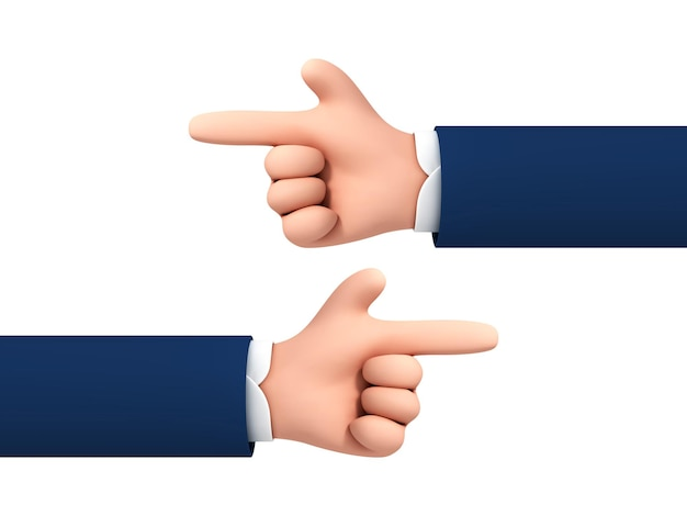 흰색 배경에 격리된 왼쪽 및 오른쪽을 가리키는 손가락으로 벡터 만화 캐릭터 사업가 손.