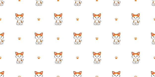 Вектор мультипликационный персонаж кошка бесшовный фон фон для дизайна. Premium векторы