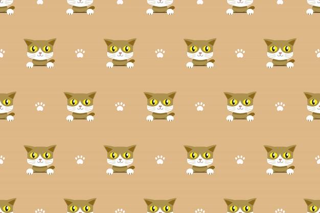 ベクトル漫画文字猫のシームレスパターン