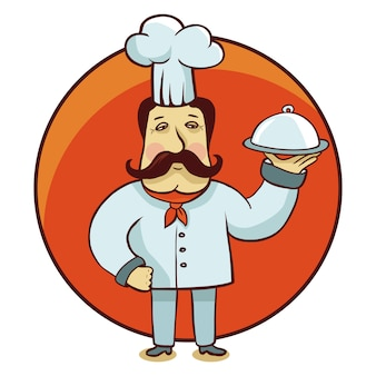 Vector cartoon character - chef cook with plate on round emblem