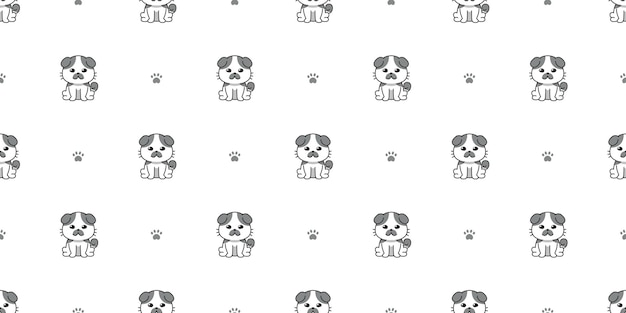 Векторный мультипликационный персонаж милый кот бесшовный фон фон для дизайна.