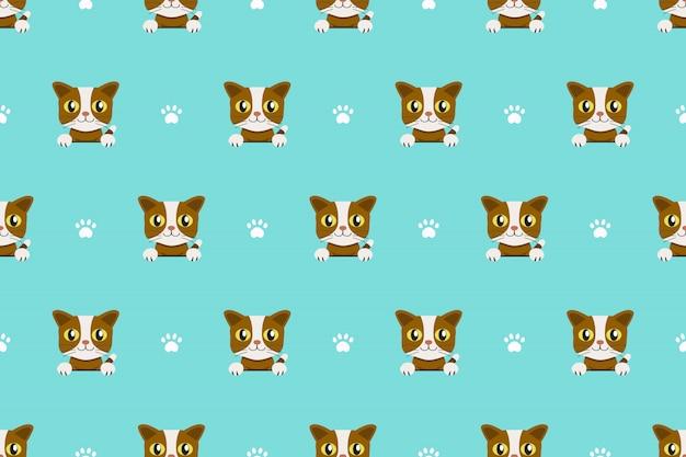 ベクトル漫画のキャラクターかわいい猫のシームレスパターン