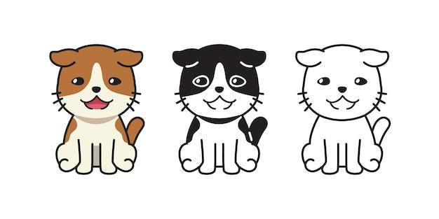 デザインのベクトル漫画キャラクターかわいい猫セット。