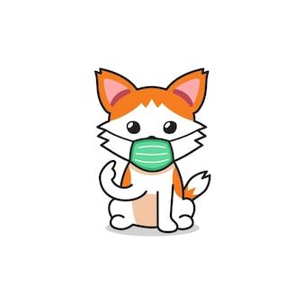 Векторный мультипликационный персонаж милый кот в защитной маске для дизайна.