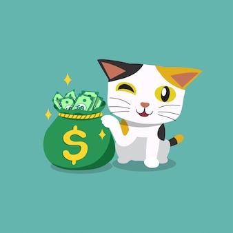 お金の袋を持つベクトル漫画キャラクターかわいい猫