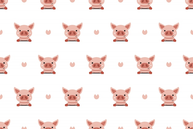 Vector cartoon character cute pig seamless pattern background