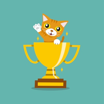Vector cartoon character cute tabby cat with gold trophy cup award