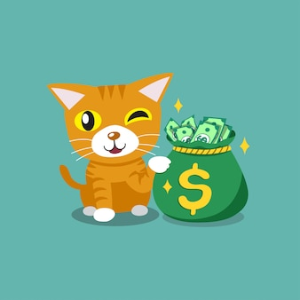 Векторный мультипликационный персонаж милый полосатый кот с мешком денег