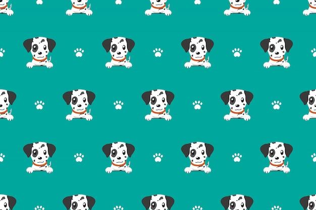 ベクトル漫画のキャラクターのダルメシアン犬のシームレスパターン