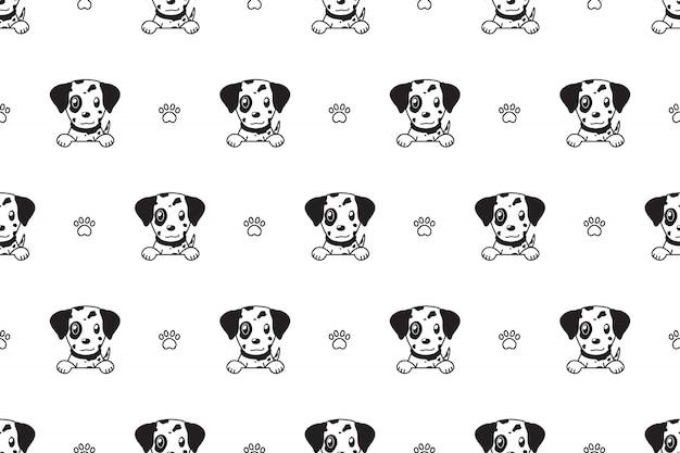 Вектор мультипликационный персонаж далматин собака бесшовный фон