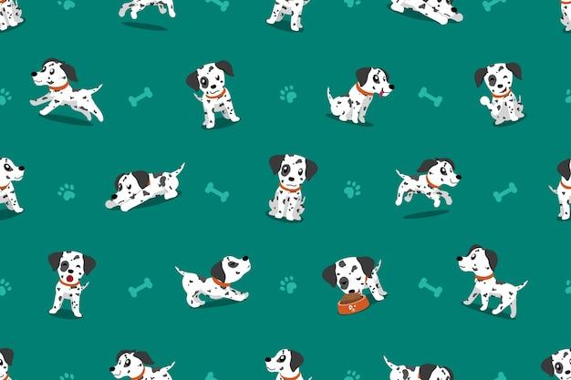 ベクトル漫画のキャラクターダルメシアン犬のシームレスなパターン