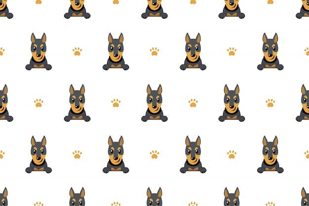 ベクトル漫画のキャラクタードーベルマン犬のシームレスパターン