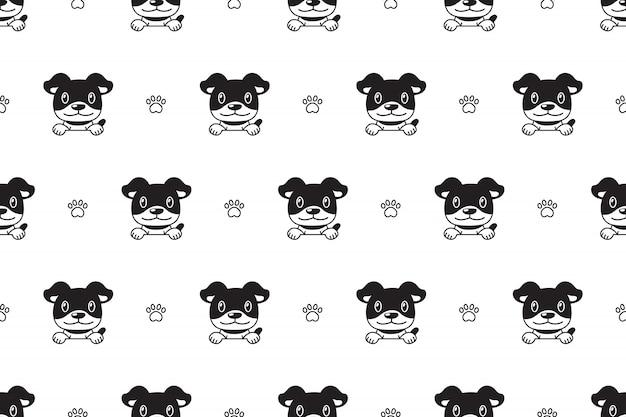 Vector cartoon character dog seamless pattern