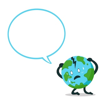 Vector cartoon character earth with speech bubble