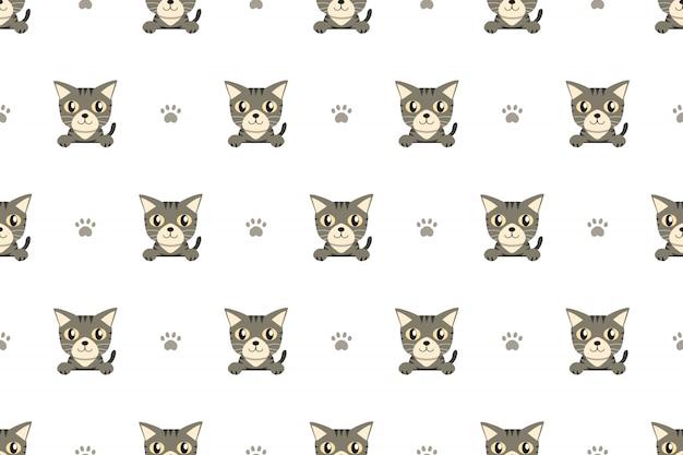 ベクトル漫画のキャラクターグレーのぶち猫のシームレスパターン