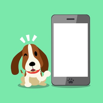 Vector cartoon character hound dog and smartphone for design
