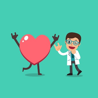 Vector cartoon character male doctor with big heart