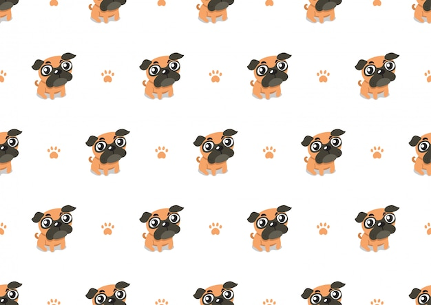 Vector cartoon character pug dog seamless pattern background