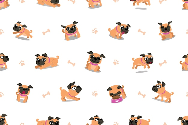 Векторные мультфильм характер мопса собака бесшовные модели