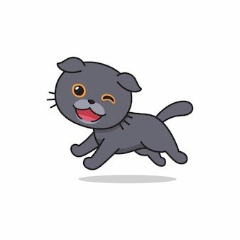 Вектор мультипликационный персонаж шотландская вислоухая кошка работает для дизайна.
