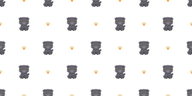 Вектор мультипликационный персонаж шотландская вислоухая кошка бесшовный фон фон для дизайна.