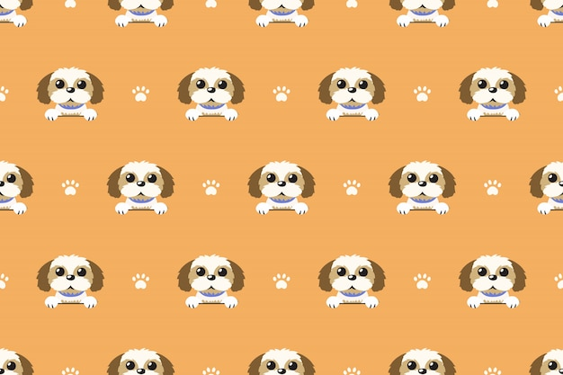 Vector cartoon character shih tzu dog seamless pattern
