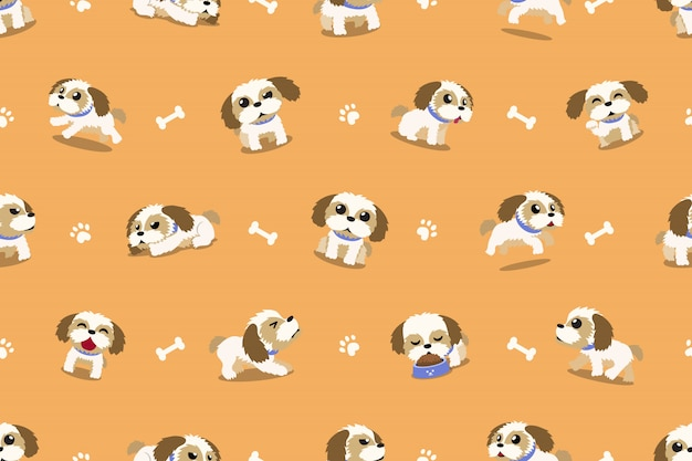Vector cartoon character shih tzu dog seamless pattern