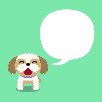 Vector cartoon character shih tzu dog with white speech bubble