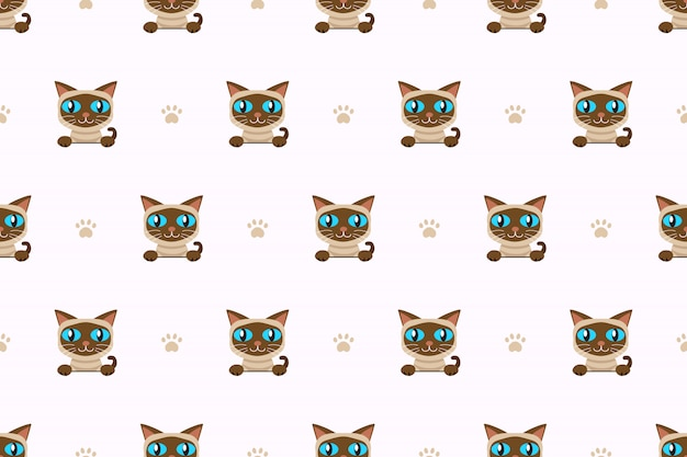 Vector cartoon character siamese cat seamless pattern