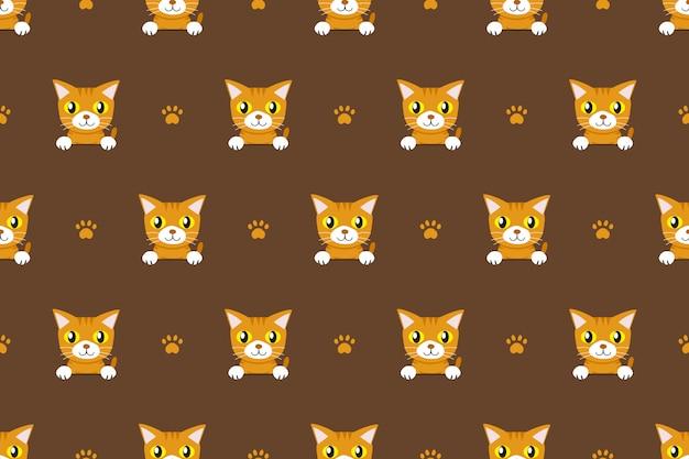 ベクトル漫画のキャラクターのトラ猫のシームレスパターン