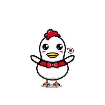 Векторный мультфильм курица милый характер дизайн вектор