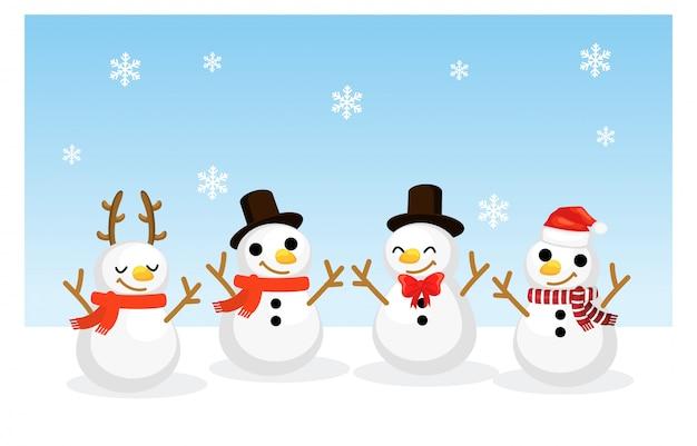 Vector cartoon christmas set of cute and lovely little snowmen.