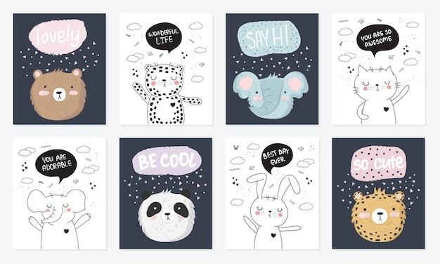 동기 부여 문구가 있는 귀여운 낙서 동물이 있는 엽서의 벡터 만화 컬렉션입니다. 포스터, 생일, 아기 책, 어린이 방, 기념일에 적합합니다.