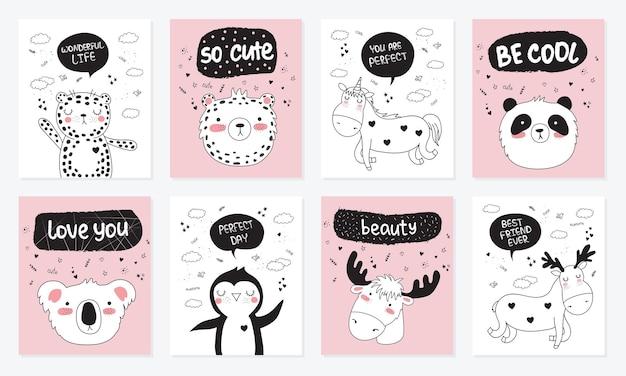 동기 부여 레터링 문구와 함께 귀여운 낙서 동물과 엽서의 벡터 만화 컬렉션