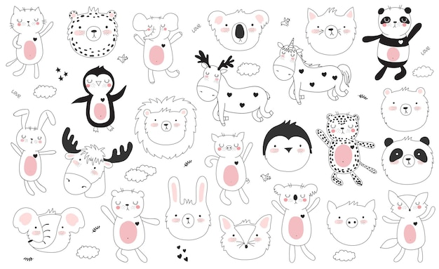 귀여운 낙서 동물과 동기 부여 레터링 문구가 있는 스티커의 벡터 만화 컬렉션