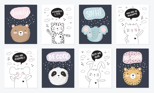 Vector cartoon collection of postcards with cute doodle animals with motivation lettering phrase. perfect for poster, birthday, baby book, children room, anniversary