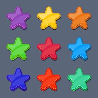 Vector cartoon color glossy stars
