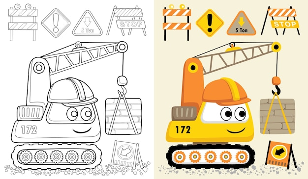 Vector cartoon of construction equipment