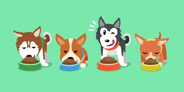 Vector cartoon cute dogs with food bowls