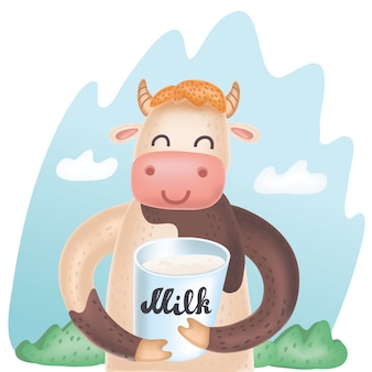 Vector cartoon cute illustration of cow with bucket of milk