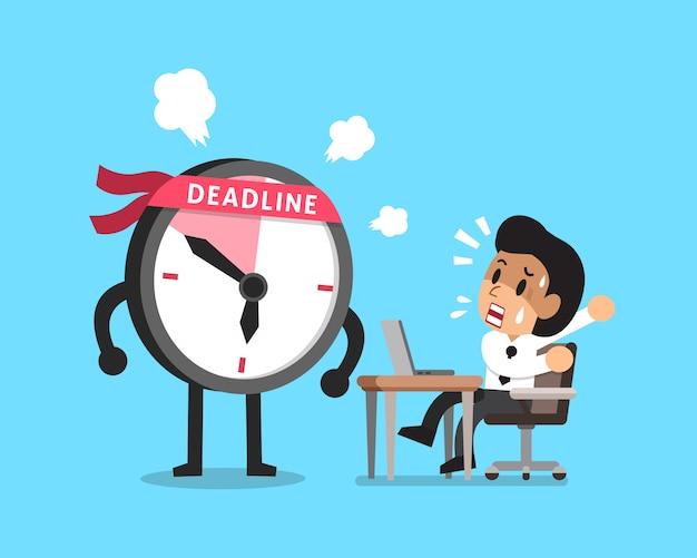 Vector cartoon deadline clock character and businessman