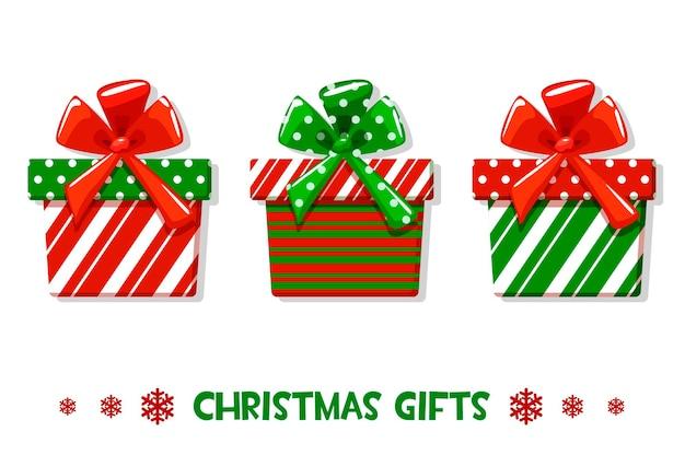 Векторный мультфильм украшен рождественскими зелеными и красными подарками