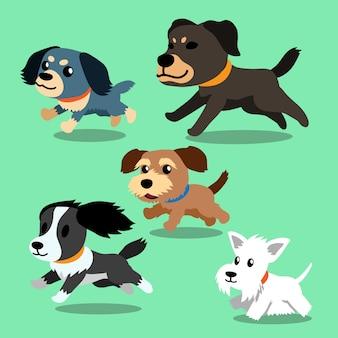 Векторные мультяшные собаки бегут Premium векторы