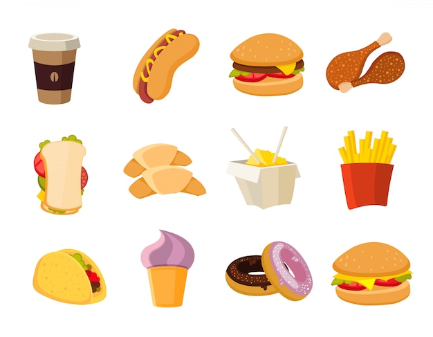 Vector cartoon fast food collection