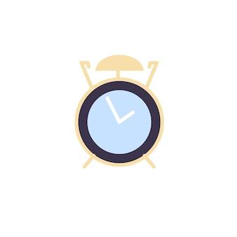 빈 배경 시간 추적 및 일일 일정, 워크플로 최적화 개념, 웹 사이트 배너 광고 디자인에 따라 격리된 벡터 만화 평면 알람 시계