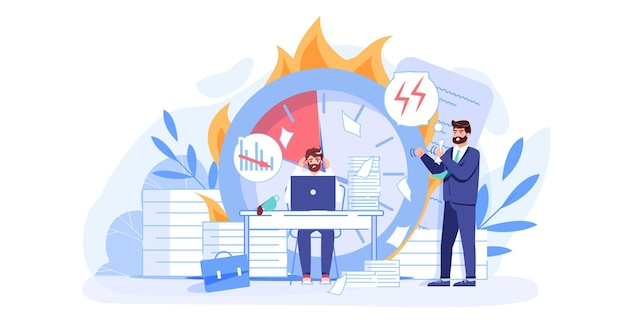 Векторный мультфильм плоский босс-менеджер, персонажи офисного работника в сцене рабочего конфликта. злой босс кричит на плохого персонажа сотрудника, крайний срок неудачной офисной работы, стрессовая ситуация, концепция баннера веб-сайта