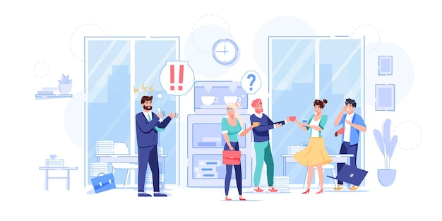 Векторный мультфильм плоский босс-менеджер, персонажи офисных работников в сцене рабочего конфликта. злой босс кричит на плохих сотрудников, крайний срок неудачи-офисная работа стрессовая ситуация, концепция баннера веб-сайта