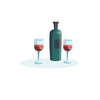 ワインのベクトル漫画フラットボトルと空の背景に分離された2つのグラス-レストランや自宅でのロマンチックなディナー、健康的な食事のコンセプト、ウェブサイトのバナー広告デザイン