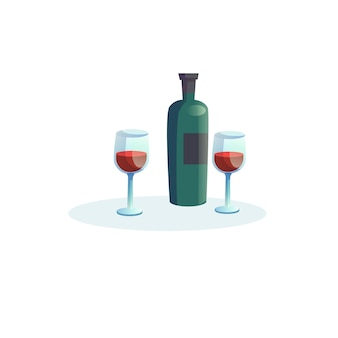 Vector cartoon flat bottle of wine and two glasses isolated on empty background-romantic dinner in restaurant or at home,healthy eating concept,web site banner ad design