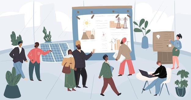Векторные мультяшные плоские персонажи-экспоненты и посетители на конференции выставки энергетики. сотрудники выставки объясняют, демонстрируют стенды и презентации для богатых арабских бизнесменов и других гостей
